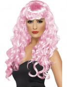 Roze gekrulde zeemeerminnenpruik voor vrouwen