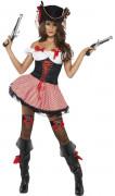 Sexy piraten kostuum met rode strepen voor vrouwen