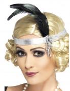 Zilverkleurige charleston haarband met veer voor volwassenen