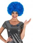 Blauwe afrodiscopruik voor volwassenen
