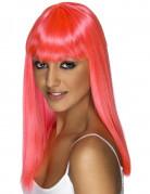 Glanzend roze glamourpruik voor dames
