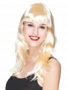 Glimmende blonde pruik met pony voor vrouwen