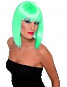 Halflange fluoblauwe turquoise damespruik
