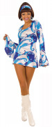 Blauwe hippie disco outfit voor dames