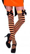 Oranje-zwart gestreepte kousen voor volwassenen Halloween