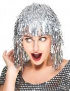 Zilverkleurige glitterpruik voor volwassenen