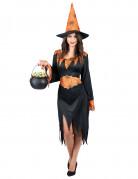 Zwart met oranje heksen kostuum voor vrouwen