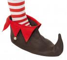 Bruine en rode kerstelf schoenen voor volwassenen