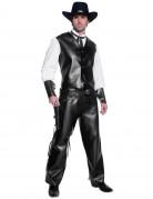 Zwart nepleer cowboy kostuum voor mannen