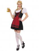 Zwart met rood Tiroler jurkje voor vrouwen