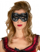 Zwart en goudkleurig Venetiaans halfmasker voor volwassenen