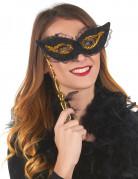Zwart-gouden masker op stokje Weert