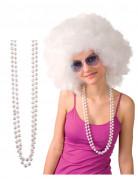 2 halskettingen met witte parels voor volwassenen