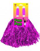 Set twee paarse pompons