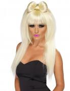 Lange pruik met blonde haren en strik voor vrouwen