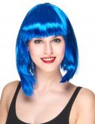 Half lange fluo blauwe pruik voor vrouwen