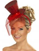 Mini hoge rode hoed voor dames