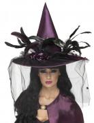 Luxe paarse heksenhoed voor vrouwen