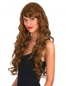 Glamour pruik lang kastanje bruin met krullen voor dames