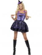 Glinsterend paars heksen kostuum voor vrouwen