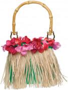 Hawaii bloemen en raffia handtas