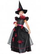 Heksenkostuum met rode versiering voor meisjes