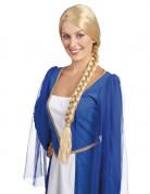 Blonde middeleeuwse damespruik met vlecht
