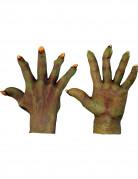 Groene monsterhandschoenen voor volwassenen Halloween