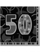 16 papieren servetten in het grijs cijfer 50