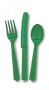 18 bestekassortimenten in smaragdgroen plastic.