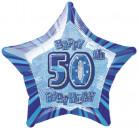 Ster ballon cijfer 50 in het blauw