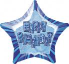 Blauwe ster ballon Happy Birthday