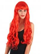 Lange rode golvende pruik voor dames