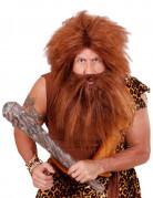 Kastanjebruine pruik met baard voor volwassenen