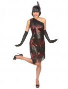 Zwart-rood Charleston kostuum voor dames