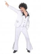 Wit en zilver kleurig disco kostuum voor heren