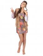Flashy Flower Power kostuum voor dames