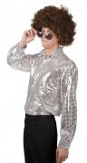 Zilver disco overhemd voor heren