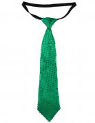 Groene lovertjes stropdas voor volwassenen