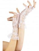 Witte hanschoenen met kant