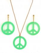 Groene hippie oorbellen en ketting