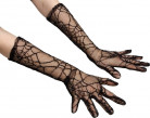 Lange zwarte spinnenweb handschoenen vrouwen