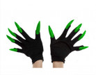 Zwarte handschoenen met groene nagels voor volwassenen