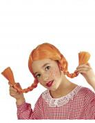 Pruik met oranje vlechten