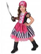 Roze doodskop piraten kostuum voor meisjes