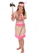 Beige en roze indianen kostuum voor meisjes