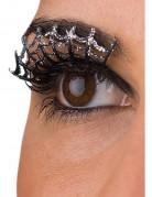 Korte valse wimpers zilverkleurig spinnenweb voor volwassenen Halloween accessoire