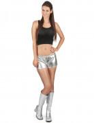 Zilverkleurig glimmend disco shorty voor vrouwen