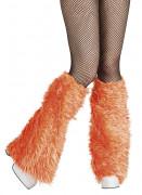 Oranje beenwarmers met lange haren