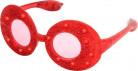 Ovalen bril met rode glitters